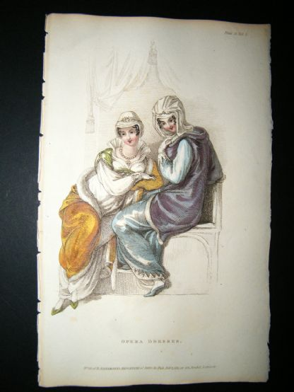 Ackermann 1811 Hand Col Regency Fashion Print. Opera Dresses 5-12 | Albion Prints
